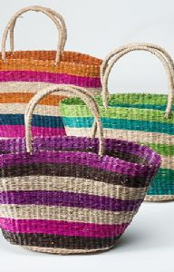Bag~ Hippy Bohemian Assorted Colour Dried Sea Grass Stripe Shopper Bag AVAILABLE IN MULTIPLE COLOURS~ By Folio Gothic Hippy SB27